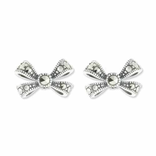 Dainty Bow Marcasite Stud Earring