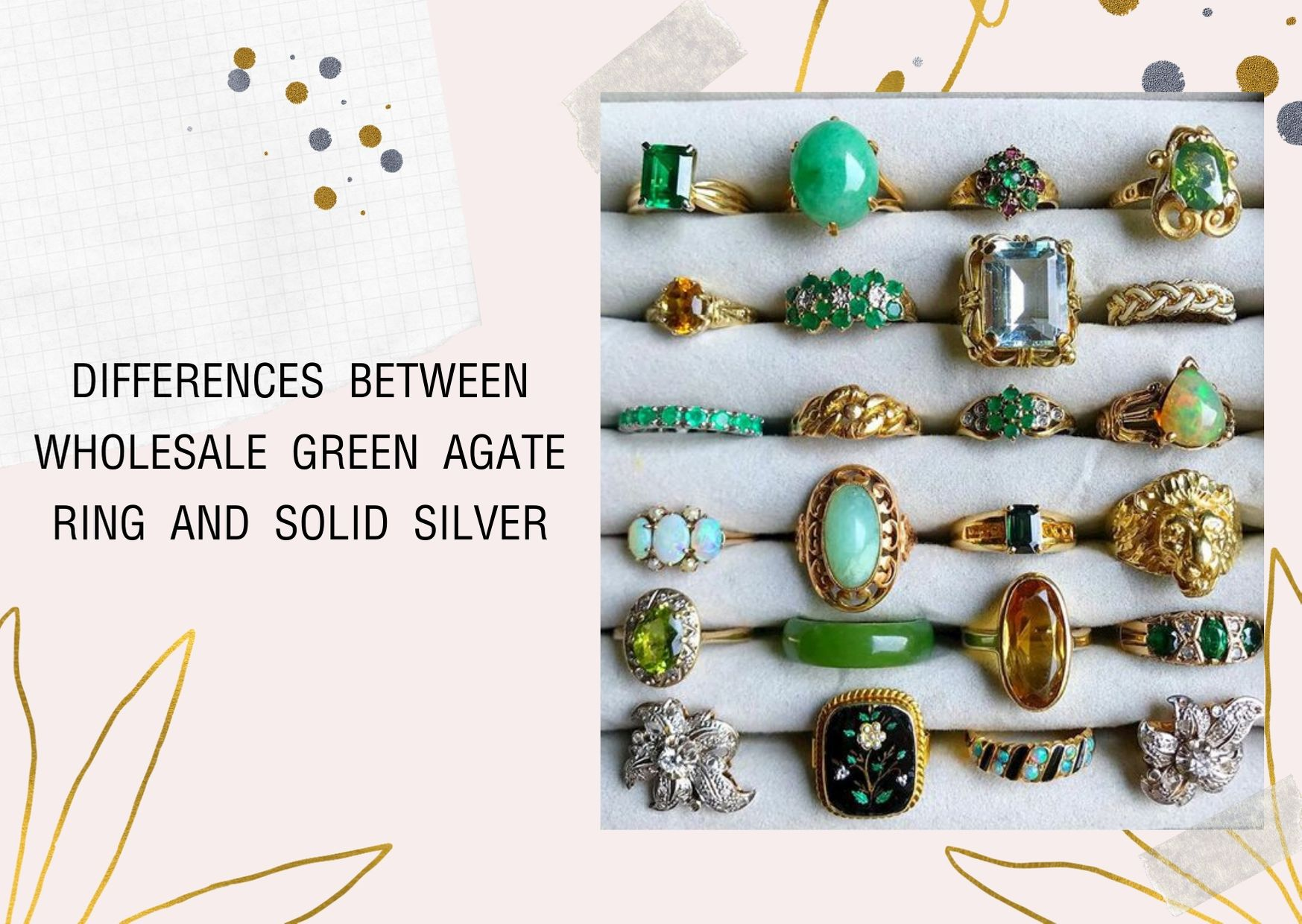 differences between wholesale green agate ring and solid silver